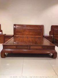 名琢世家红木卧室家具刺猬紫檀红木双人床款式大全
