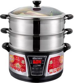 好美特28cm機械式多功能電蒸鍋 雙層蒸鍋電火鍋