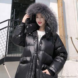 女款韩版羽绒服中长 宽松羽绒服外套
