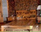 老船木双人床 单人床 船木床 三件套