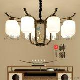 大燭照明新中式吊燈現書房燈具小鳥鐵藝燈
