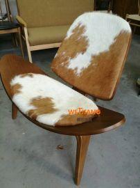 工厂直销北欧实木弯板三角贝壳椅