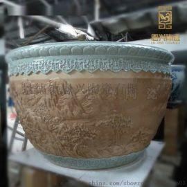 陶瓷大号鱼缸聚宝盆摆件 家居装饰镇宅招财陶瓷风水缸