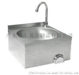 不锈钢单槽洗手盆食品级医用星盆膝顶膝控洗手池