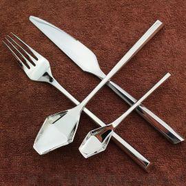 **菱形 六角不锈钢刀叉套装 304牛排刀叉勺四件套 创意西餐餐具