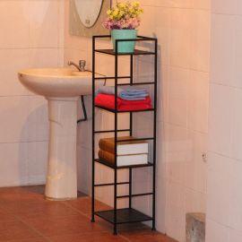 欧美简约创意铁艺家居置物架,多层落地卧室墙壁书架,收纳架子阳台