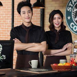 夏季新款酒店工作服咖啡厅服务员工作服短袖西餐快餐店工装制服