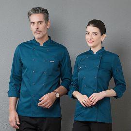 韩式厨师工作服长袖秋冬装男女双排扣厨房后厨厨师服