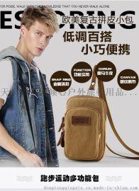 定做批发帆布男包跑步运动包定制生产穿皮带腰包多功能手机包挂包休闲男士小包胸包