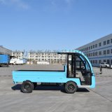 蓝色平板电动货车带围栏