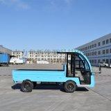 藍色平板電動貨車帶圍欄