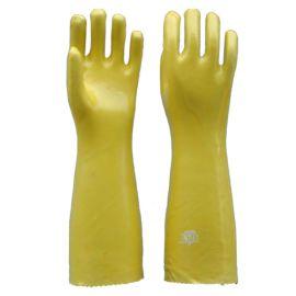 順興廠家批發 pvc 浸膠勞保手套 黃色加長安全防油防酸鹼手套45cm