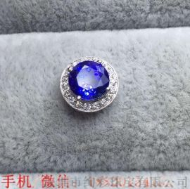 深圳绚彩珠宝1.59克拉圆形坦桑石吊坠 简单大方