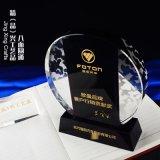 黑白拼接水晶奖牌 企业季度销售业绩表彰水晶奖牌定制