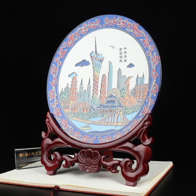 水晶纪念摆件 礼品水晶彩雕奖盘 国庆好礼广州精兴