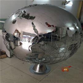 定制镜面不锈钢地球仪雕塑景观镂空地球仪装饰摆件