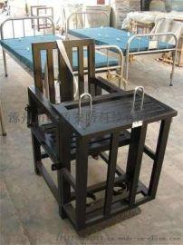 [鑫盾安防]不锈钢标准型审讯椅 棕黑色板钥匙型铁质审讯桌椅XD1