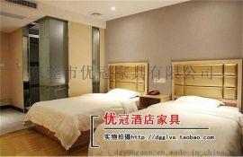 广州优冠公寓酒店家具床 酒店客房板式床 软包靠背床床板
