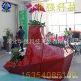 商場創意多邊形組合白色花鉢 批發玻璃鋼裝飾花盆 菱形花盆定製