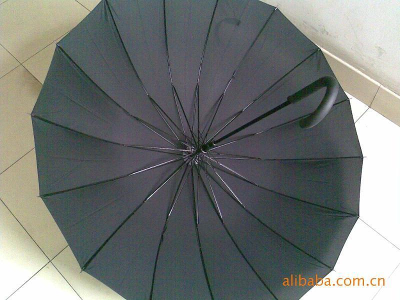 16骨雨伞、加厚钢槽骨16骨广告伞长柄伞、16骨纤维骨广告直杆伞
