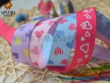 情人節印花螺紋帶DIY髮飾材料心形印花羅紋帶