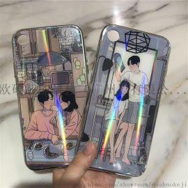 适用iphoneXS玻璃彩绘电镀边手机壳