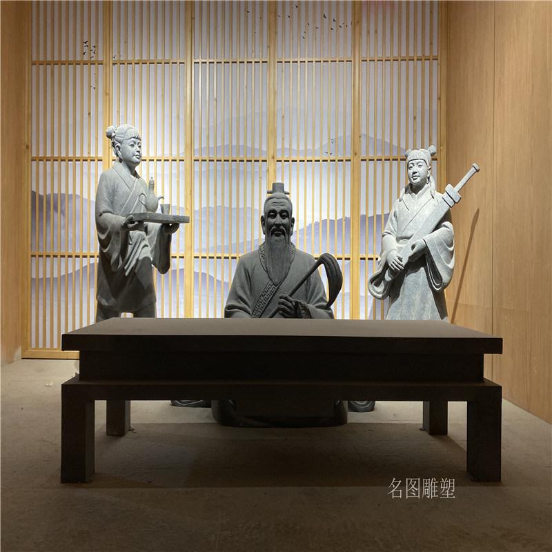 云浮衍生药业展厅人物雕塑 玻璃钢仙童道士雕像