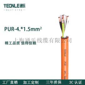 机器人自动化高柔性PUR4*1.5伺服耐油拖链电缆