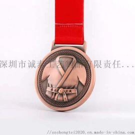 功夫奖牌制作 青少年运动纪念品古铜奖牌定做