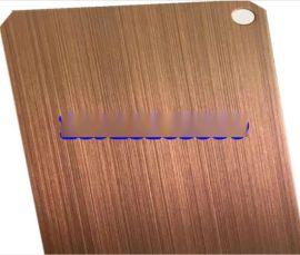 手工拉丝不锈钢镀铜板 不锈钢镀铜发黑做旧板