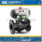 气动碳钢球阀, Q641F-16C气动碳钢法兰球阀