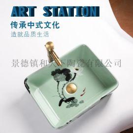 景德镇卫浴设备手工艺术台上陶瓷洗脸碗盆