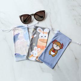 产地货源超细纤维眼镜袋,印花抽绳手机袋,眼镜布袋