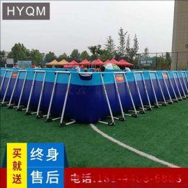 厂家定制支架游泳池大型水上乐园设备户外成人儿童充气水滑梯移动