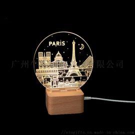 跨境led台灯定制3D小夜灯LED床头灯USB夜灯