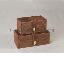 长方形首饰盒真皮木质首饰盒欧式创意客厅卧室摆件