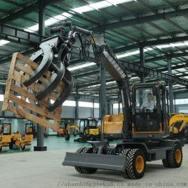 小钢建机95轮式挖掘机 小型轮式挖机图片配置
