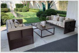 大型楼盘不锈钢休闲沙发茶几组合定做 户外家具厂家