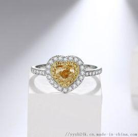 艺钻珠宝黄钻戒指18K金戒指女群镶钻戒