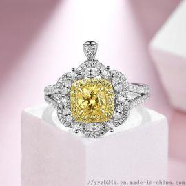 艺钻珠宝18K天然黄钻戒,珠宝定制