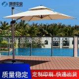 露臺休閒遮陽傘方形庭院羅馬傘手搖帶燈2米4沙灘傘