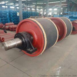 洗煤皮带机尾包胶滚筒 固定式一米胶带包胶滚筒