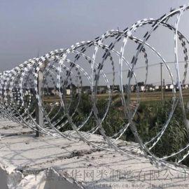 新建围墙蛇腹型刀刺网 镀锌刺绳隔离网