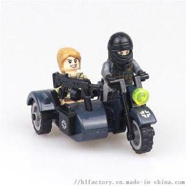 搪胶 三轮摩托车兵人 可放人 玩具礼品模型手办