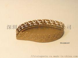 金色树叶型首饰化妆品收纳盘