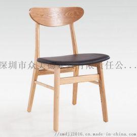实木餐椅订造,防火皮革餐椅,茶餐厅面馆休闲餐厅椅子