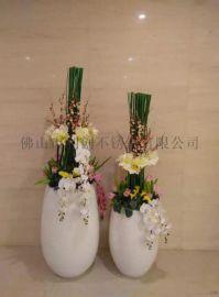 不锈钢定制圓形花盆花器厂家 户外大花器加工