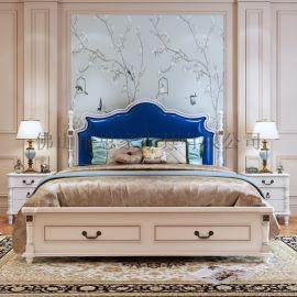 美式实木床高箱储物床简约床美式田园床