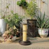 現代鳥籠燈圓柱形柱頭燈仿雲石防水草坪燈特色立柱燈