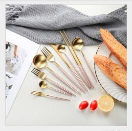 304不鏽鋼刀叉勺西食具高檔鍍金牛扒刀叉子廠家直銷